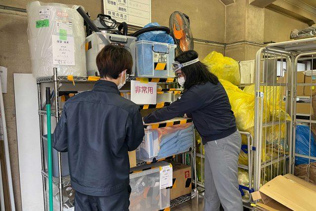 緊急事態が発生した際に使用する部材の在庫と保管位置の確認を行いました。